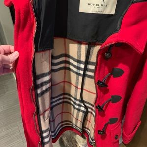Burberry Red Wool Toggle Jacket